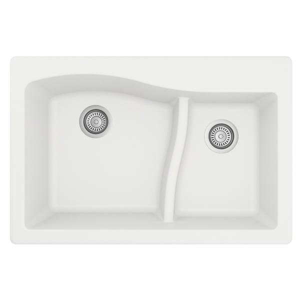 """Karran Drop-In Quartz 33 in. 1-Hole 60/40 Double Bowl Sink - 33"""" x 22"""" x 10"""" - 33"""" x 22"""" x 10"""". Opens flyout."""