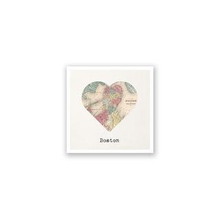 Boston City Map to My Heart Matte Poster 12x12