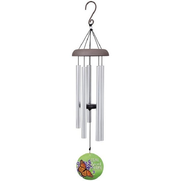 "30"" Silver and Green Home Wind Chime with Printed Sail - N/A"