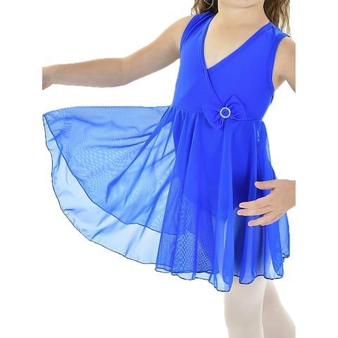 Women's Royal Blue Front Crossed Empire Waist Dancewear DALLAS Dress S-L
