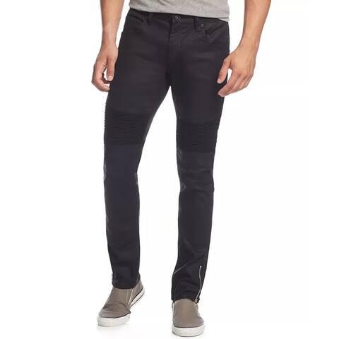 INC International Concepts Men's Skinny-Fit Moto Jeans With Zipper Details Black Size 34X34