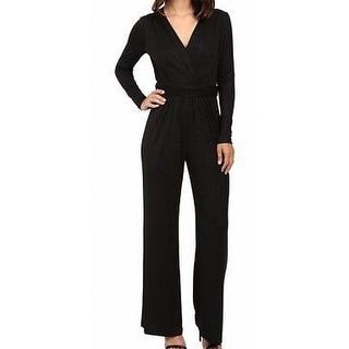Tahari By ASL NEW Deep Black Womens Size 4 Ruched Glitter Jumpsuit