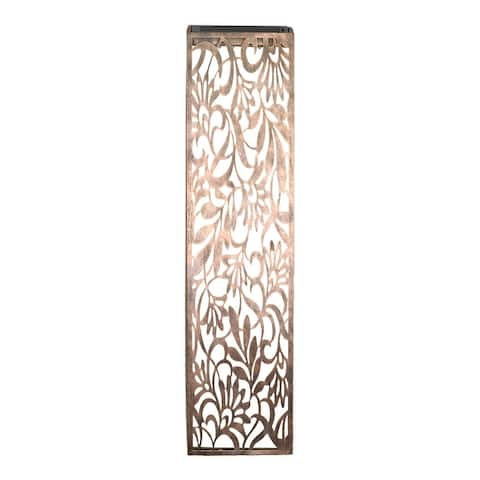 Exhart Solar Metal Filigree Wall Panel Art with Floral Pattern, 8 x 33 Inches