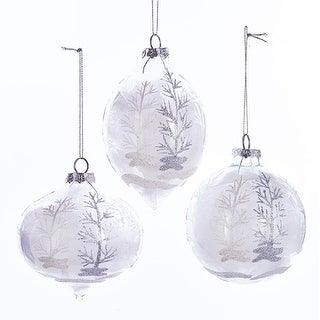 "Link to Pack of 6 Glass White Glittering Feather Ball Ornaments 4.25"" Similar Items in Christmas Decorations"