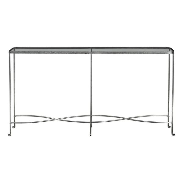 new style 3e426 99456 Uttermost 24767 Aubrey 55 1/5 Inch Wide Iron Console Table with Glass Top  by Jim - silver/rust