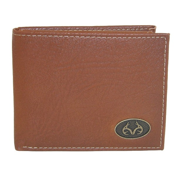 Realtree Men's Leather Bifold Wallet with Burnished Edges - One size