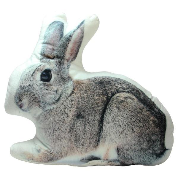 "14"" Winter's Beauty Charming Gray Bunny Rabbit Decorative Throw Pillow"