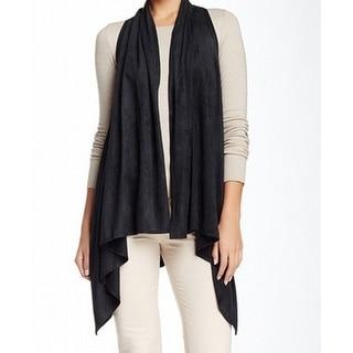 Max Studio NEW Black Women's Size Large L Faux Suede Vest Sweater