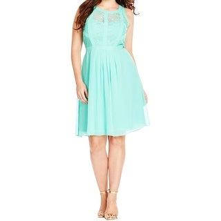 City Chic Womens Plus Casual Dress Chiffon Lace Overlay