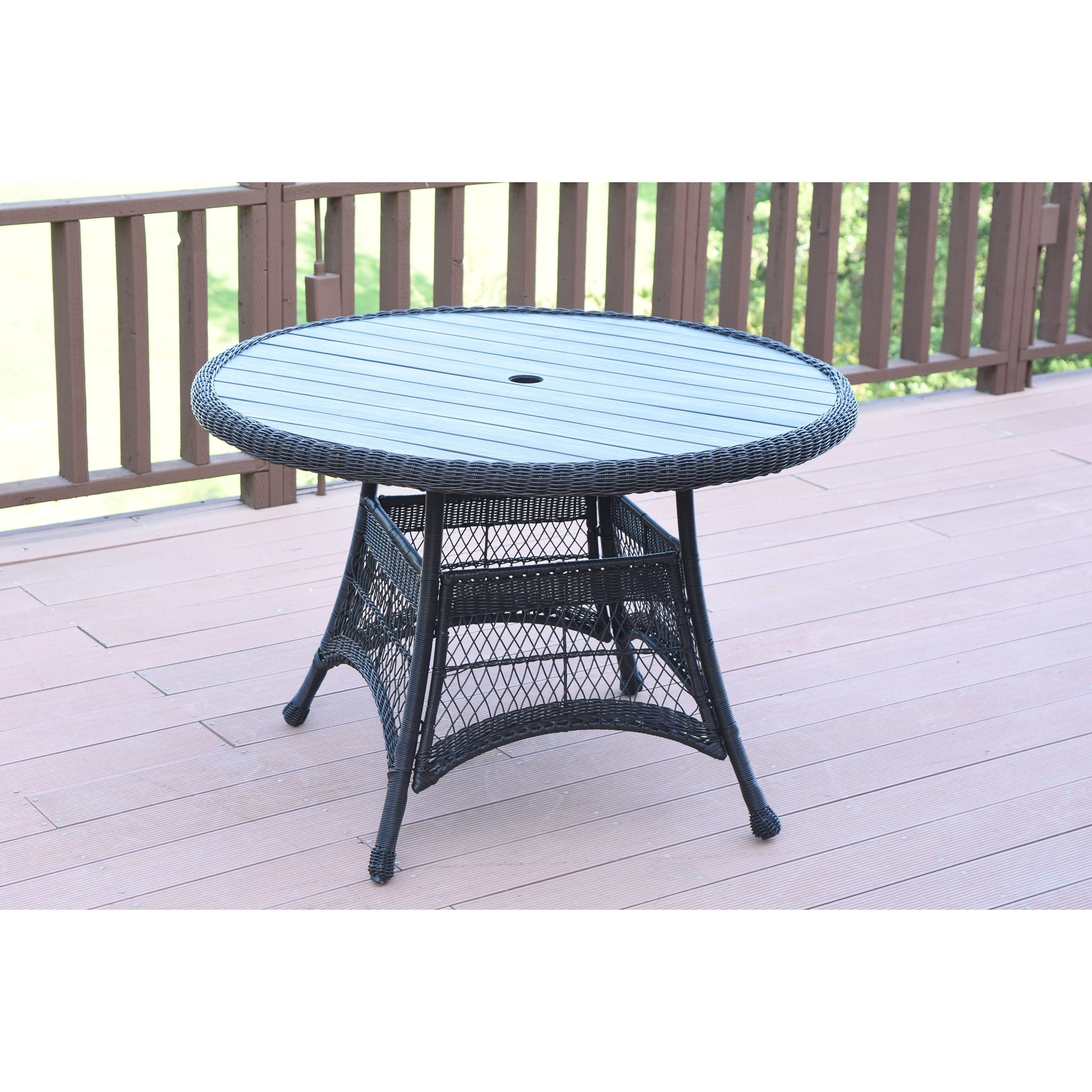 Black Wicker 44inch Round Dining Table With Faux Wood 44in Overstock 32074396