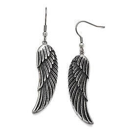Chisel Stainless Steel Antiqued Shepherd Hook Dangle Wing Earrings