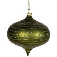 "Olive Green Glitter Striped Shatterproof Christmas Onion Ornament 4"" (100mm)"