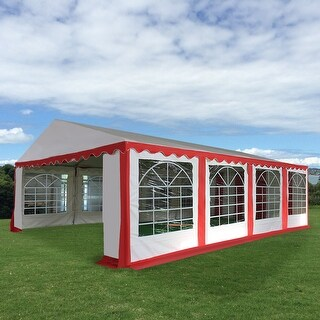 Costway 16 2/5'X26' Tent Shelter Heavy Duty Outdoor Party Wedding Canopy Carport Red