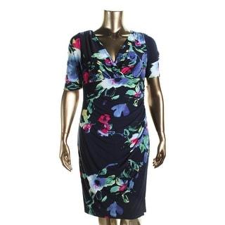Lauren Ralph Lauren Womens Floral Print V-Neck Wear to Work Dress