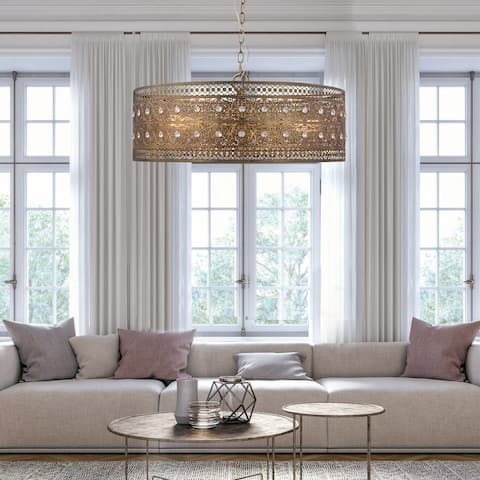"23.5""W Bryar Brass and Crystal 3-Light Chandelier - 23.5"" x 23.5"" x 61.5"""