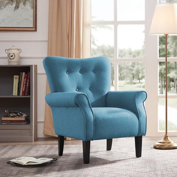 shop belleze modern linen accent chair armrest living room