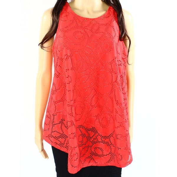 a79b524d0b3cc Shop Alfani NEW Punch Red Womens Size Medium M Laser-Cut Overlay ...