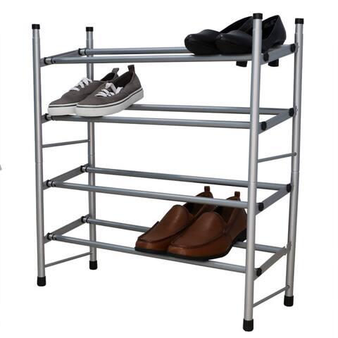 Expandable 4 Tier Steel Shoe Rack, Chrome