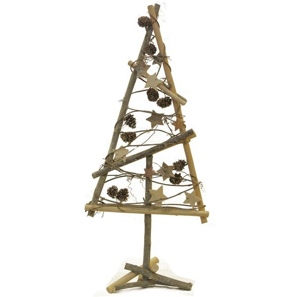 """23"""" Natural Twig with Pine Cones and Stars Christmas Tree Tabletop Decoration"""