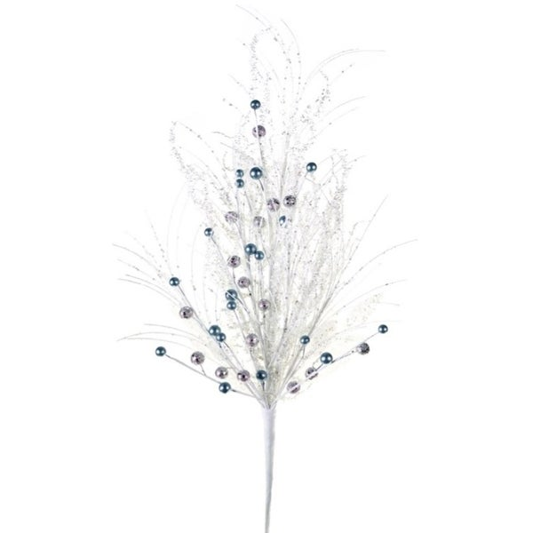 Pack of 6 White and Silver Glittered Leaf and Needle Artificial Floral Sprays 31""