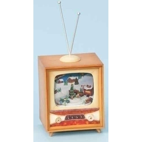 "10"" Amusements LED Lighted Animated and Musical Retro Christmas Television Set - brown"