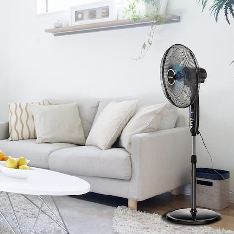 16FT 3-Speed Adjustable Oscillating Pedestal Fan with Remote Control