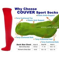 Red Couver Knee High Unisex Sports Athletic Baseball Softball Socks(3 Pairs)