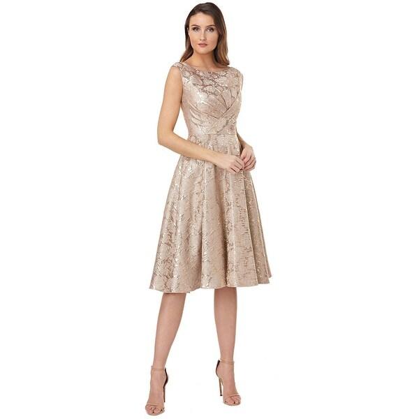 Shop Kay Unger Pleating Bodice Jacquard Fit Amp Flare Dress