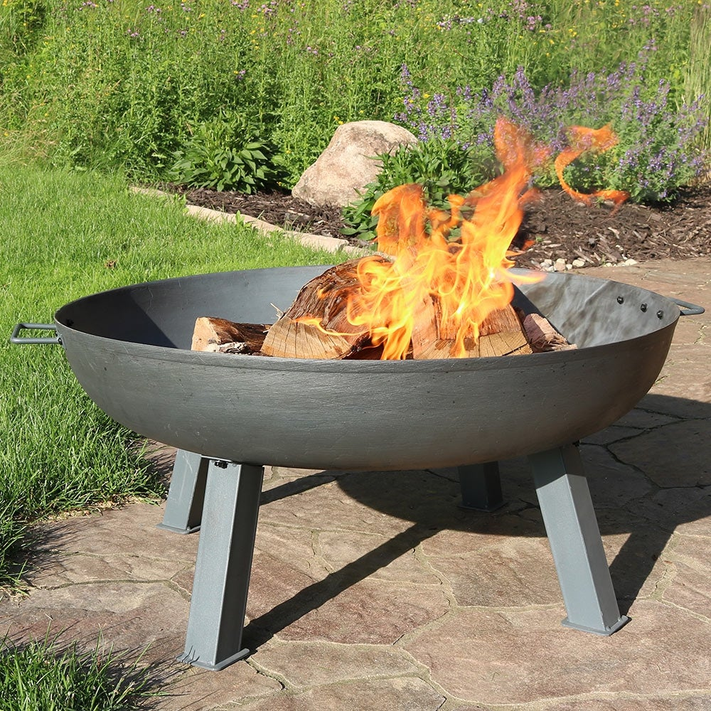 Sunnydaze Steel Colored Cast Iron Wood Burning Fire Pit Bowl 34 Inch