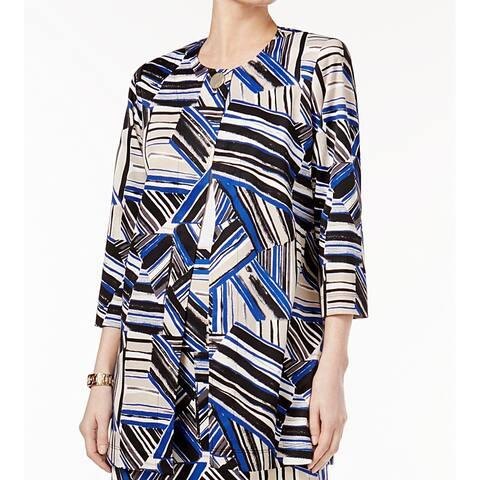 Kasper Womens Jacket Cobalt Blue Black Size 6 Flyaway Topper Printed