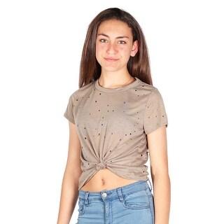 Lori & Jane Girls Tan Front Tie Short Sleeve Perforated Trendy T-Shirt