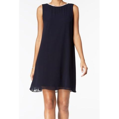 MSK Blue Women's Size 6 Embellished T-Back Chiffon Shift Dress