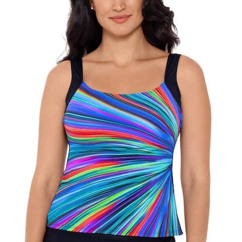 Reebok Womens Radiant Energy Printed Tankini Swim Top Separates - Multi
