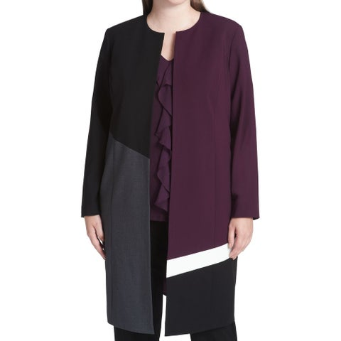 Calvin Klein Purple Women's Size 20W Plus Colorblock Topper Jacket