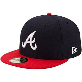 New Era Unisex Atlanta Braves Home 59Fifty Fitted Cap, Black/Red, 8 - Black/red