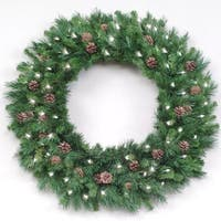 10' Pre-Lit Cheyenne Pine Commercial Christmas Wreath - Clear Dura Lights - green