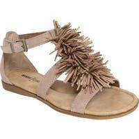 Minnetonka Women's Presley Fringe Sandal Taupe Suede