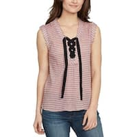 William Rast Pink Womens Size XXL Plus Striped Lace Up Blouse