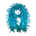 Women's Fancy Sheer Lace Scarf With Fringe Drops Blue Color - Thumbnail 0
