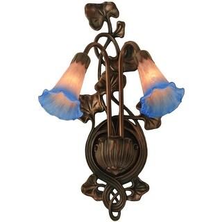 "Meyda Tiffany 17502 11"" W Pink / Blue Pond Lily 2-Light Wall Sconce - Pink Blue - n/a"