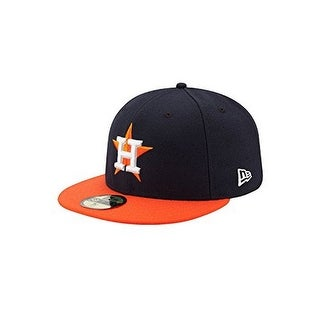 New Era Mens Houston Astros Authentic 2017 59Fifty Fitted Cap, Navy/Orange