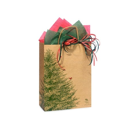 "Pack Of 25, Cub 8 X 4.75 X 10.25"" Evergreen Tree Recycled Paper Shopping Bags Made In Usa"