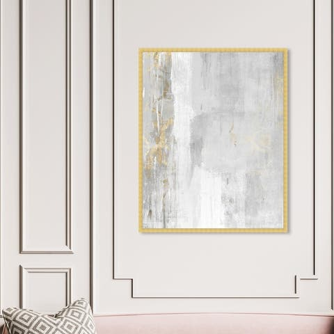 Oliver Gal 'Abstract Elegance' Abstract Framed Wall Art Prints Paint - White, Gray