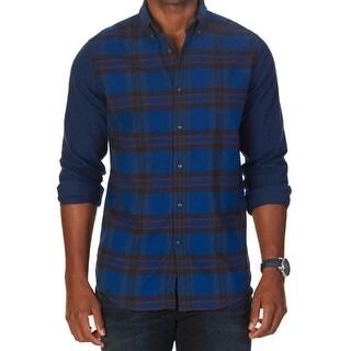 Nautica NEW Blue Black Mens Size XL Button Down Plaid Printed Shirt