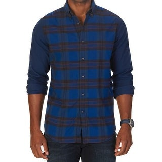 Nautica NEW Blue Mens Size Medium M Button Down Plaid Printed Shirt