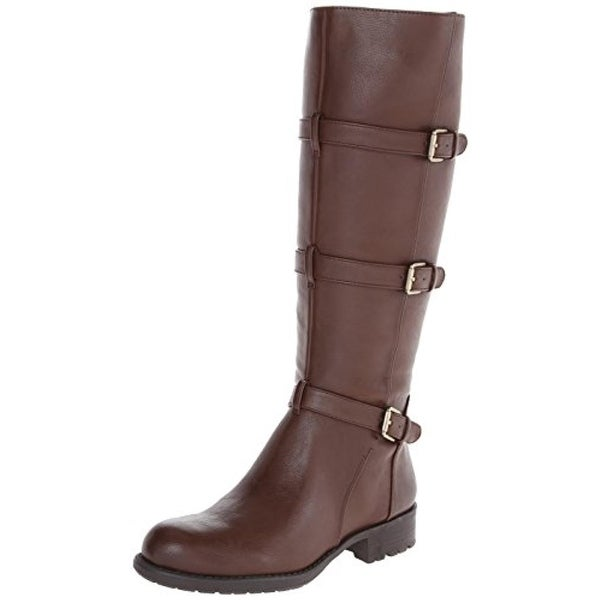 Franco Sarto Womens Petite Motorcycle Boots Faux Leather Knee High