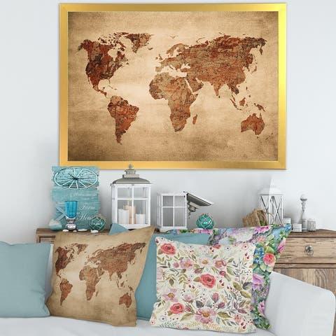 Designart 'Ancient Map of The World VII' Vintage Framed Art Print