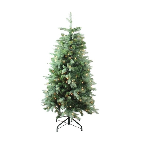 4.7' Pre-Lit Slim Fresh Cut Carolina Frasier Fir Artificial Christmas Tree - Clear Lights - green