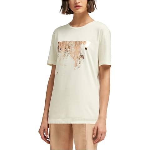 DKNY Womens Metallic Logo Graphic T-Shirt, White, Small