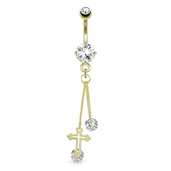 Cross With Large Round CZ Attached By Chain String Dangle gold-plated Navel Belly Button Ring